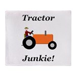 Orange Tractor Junkie Throw Blanket