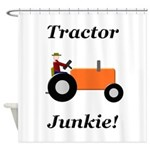Orange Tractor Junkie Shower Curtain