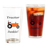 Orange Tractor Junkie Drinking Glass
