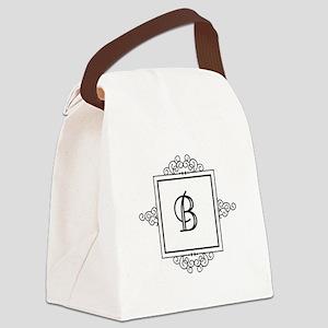 Fancy letter B monogram Canvas Lunch Bag