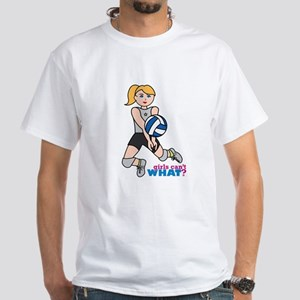 Volleyball Player Light/Blonde White T-Shirt