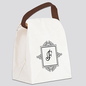Fancy letter F monogram Canvas Lunch Bag