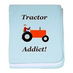 Orange Tractor Addict baby blanket