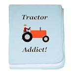 Orange Tractor Addict baby blanket
