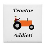 Orange Tractor Addict Tile Coaster