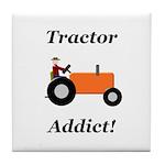 Orange Tractor Addict Tile Coaster