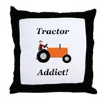 Orange Tractor Addict Throw Pillow