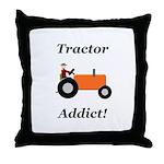 Orange Tractor Addict Throw Pillow