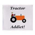 Orange Tractor Addict Throw Blanket