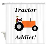 Orange Tractor Addict Shower Curtain