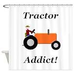 Orange Tractor Addict Shower Curtain