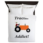 Orange Tractor Addict Queen Duvet