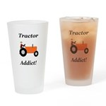 Orange Tractor Addict Drinking Glass