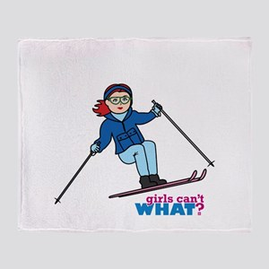 Skiing Woman Light/Red Throw Blanket