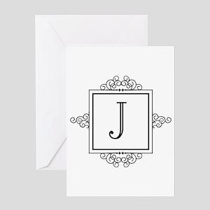 Fancy letter J monogram Greeting Cards
