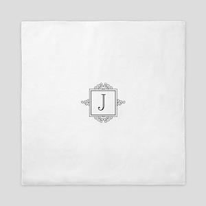 Fancy letter J monogram Queen Duvet