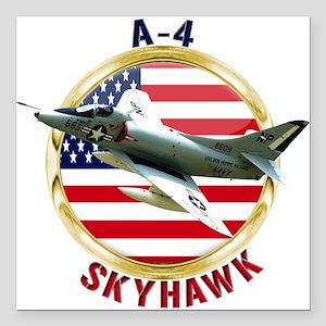 """A-4 Skyhawk Square Car Magnet 3"""" x 3"""""""