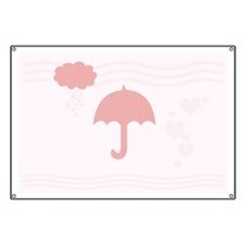 Cute Pink Umbrella Banner