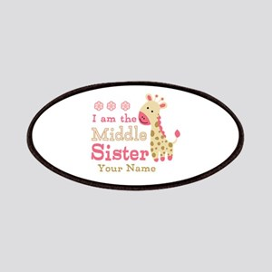 Pink Giraffe Middle Sister - Personalized Patches