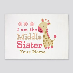 Pink Giraffe Middle Sister - Personalized 5'x7'Are