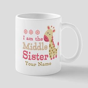Pink Giraffe Middle Sister - Personalized Mug