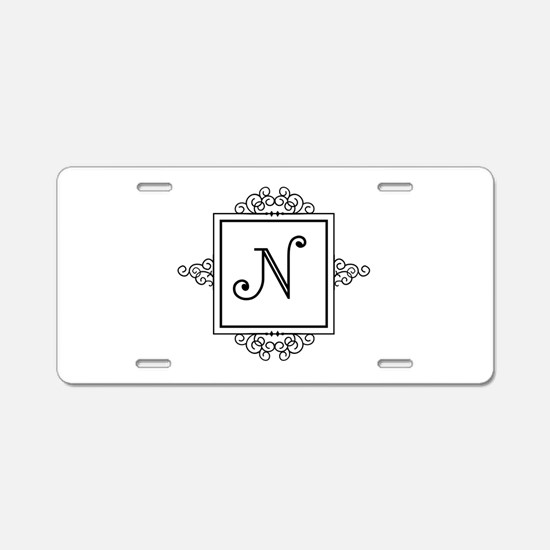 Fancy letter N monogram Aluminum License Plate