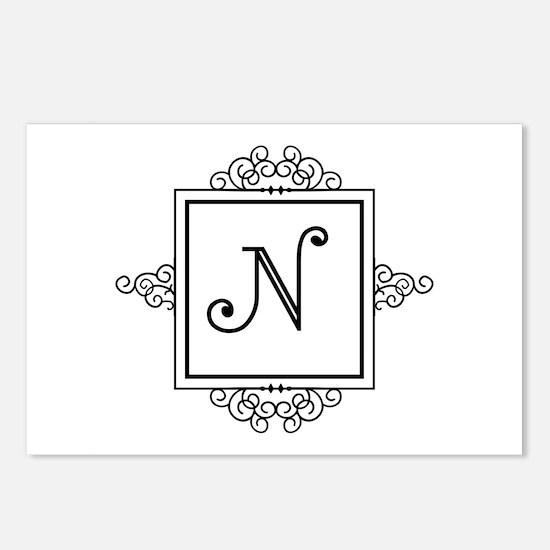 Fancy letter N monogram Postcards (Package of 8)