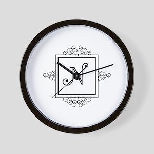 fancy letter n monogram wall clock