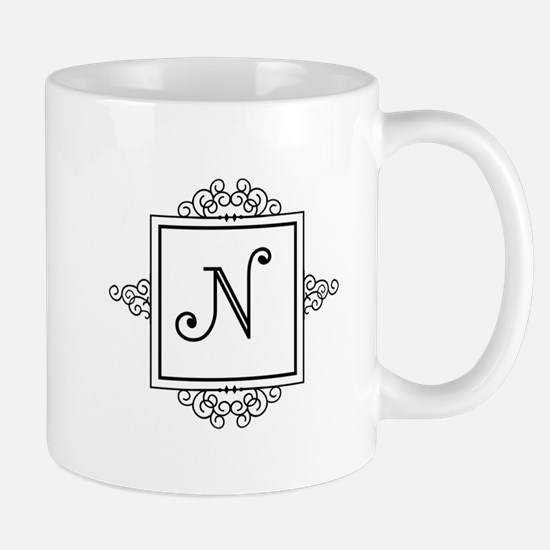 Fancy letter N monogram Mugs