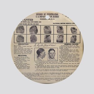 Clyde Barrow Wanted Poster Ornament (Round)