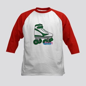 Roller Derby Skate Green Kids Baseball Jersey