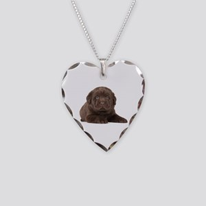 Chocolate Lab Puppy Necklace Heart Charm
