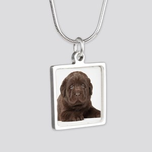 Chocolate Lab Puppy Silver Square Necklace