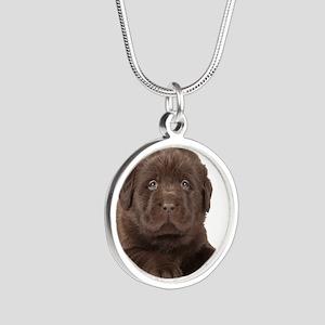 Chocolate Lab Puppy Silver Round Necklace