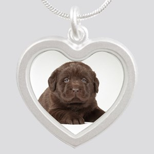 Chocolate Lab Puppy Silver Heart Necklace