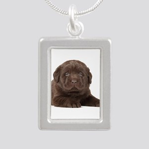 Chocolate Lab Puppy Silver Portrait Necklace