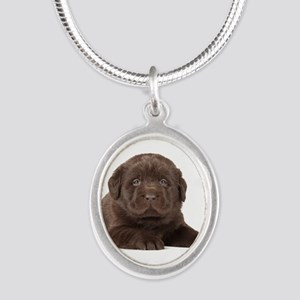 Chocolate Lab Puppy Silver Oval Necklace