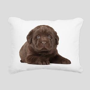 Chocolate Lab Puppy Rectangular Canvas Pillow