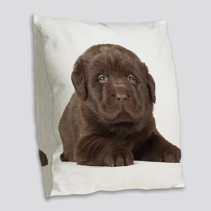 Chocolate Lab Puppy Burlap Throw Pillow
