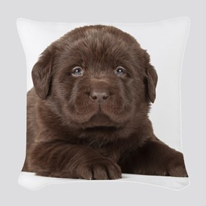 Chocolate Lab Puppy Woven Throw Pillow