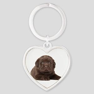 Chocolate Lab Puppy Heart Keychain