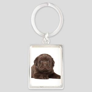 Chocolate Lab Puppy Portrait Keychain