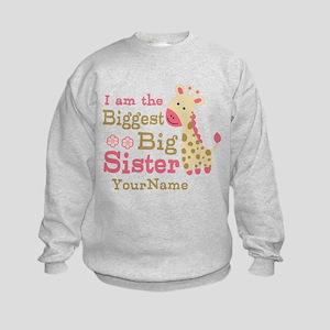 Biggest Big Sister Personalized Pink Giraffe Kids