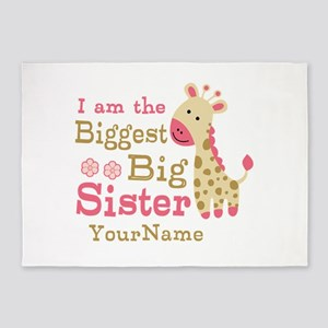 Biggest Big Sister Personalized Pink Giraffe 5'x7'