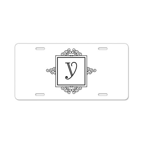 Fancy letter Y monogram Aluminum License Plate by Admin