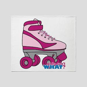 Roller Derby Skate Pink Throw Blanket
