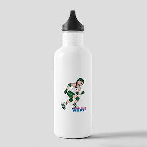 Roller Derby Girl Light/Red Stainless Water Bottle