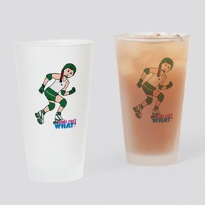 Roller Derby Girl Light/Red Drinking Glass