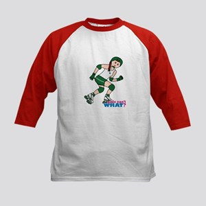 Roller Derby Girl Light/Red Kids Baseball Jersey