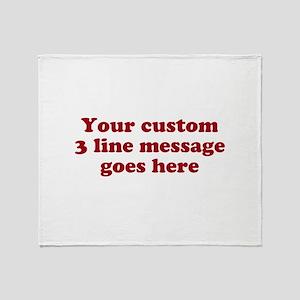 Three Line Custom Message Throw Blanket